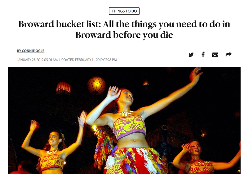 Screenshot of article - Broward bucket list: All the things you need to do in Broward before you die by Miami Herald.