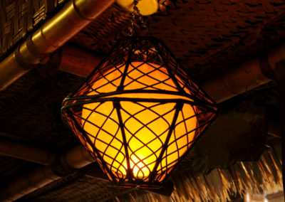 Example of an artistic fishing themed lantern - one of many suspended from the Mai-Kai ceilings.