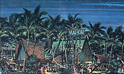 A postcard rendering of the Mai-Kai at night.