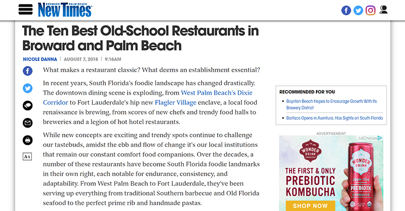 Screenshot of New Times's article about ten best old-school restaurants in Broward and Palm Beach.