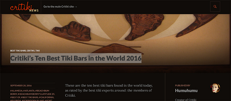 Screenshot of Critiki's article of Ten Best Tiki Bars in the World 2016.