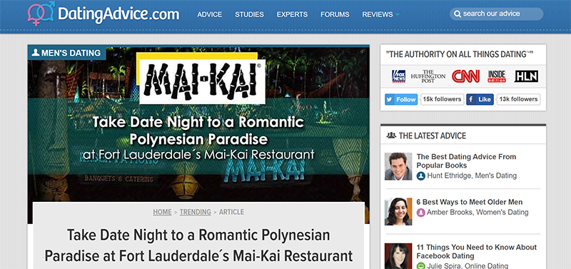 Screenshot of an article - Take Date Night to a Romantic Polynesian Paradise at Fort Lauderdale's Mai-Kai Restaurant by Dating Advice